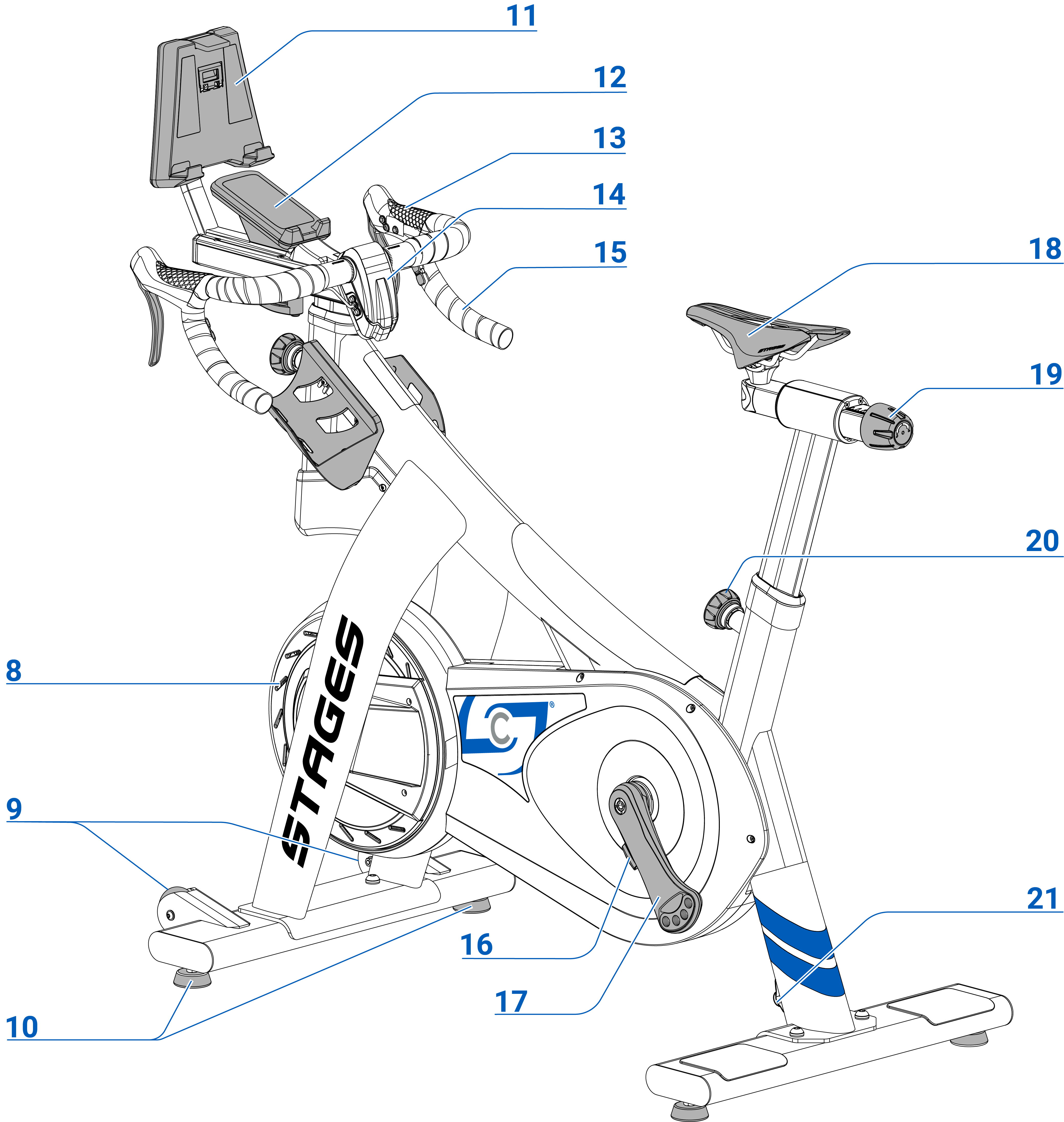 Profile view of SB20 with parts labeled 11 to 20 (refer to table below).