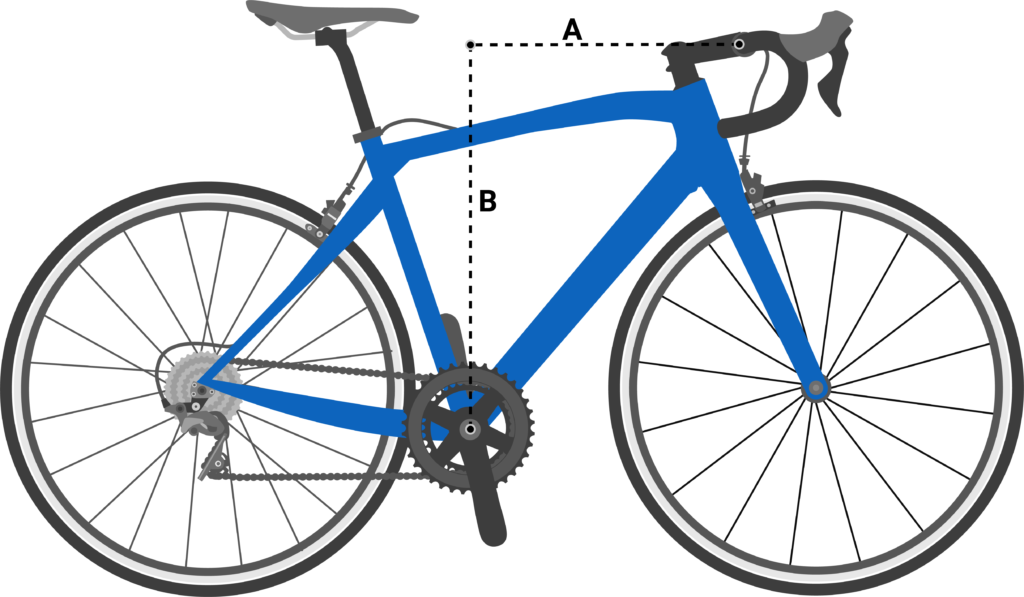 Road bike with dotted lines indicating reach distance and stack height.