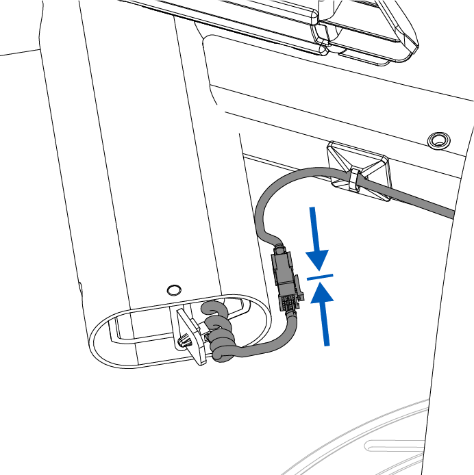 Cable junction connects underneath the nose cap.