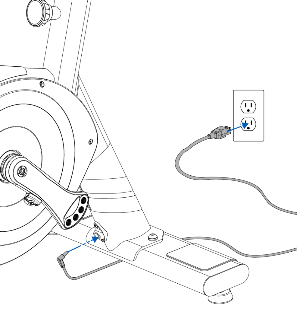 Power cable connections at rear stabilizer and wall outlet.