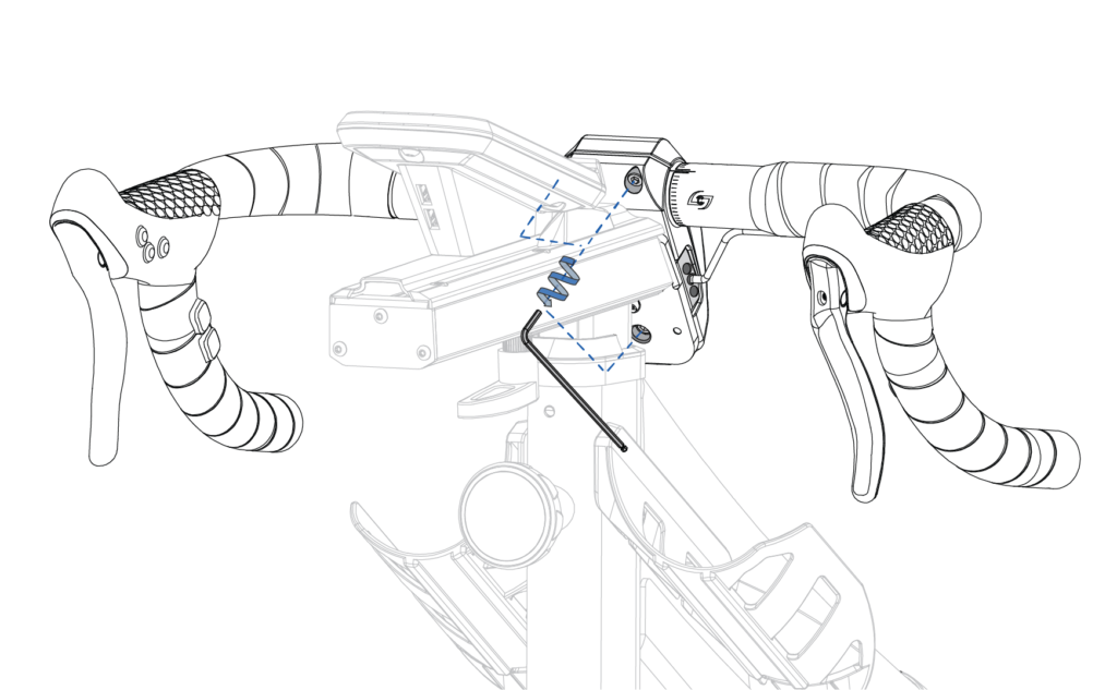 Front of SB20 with a hex wrench and counterclockwise arrow connected by dotted lines to the 3 bolts on the back of the handlebar faceplate.
